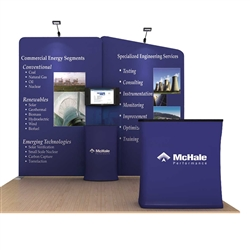 Oyster A 10ft Waveline Single-Sided Tension Fabric trade show display, attention grabbing convention booth, is an all inclusive display that is affordable. Oyster A 10 ft WaveLine Media Display is part of an amazing collection of Booth Display Kits