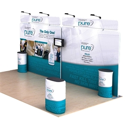 Dolphin B 20ft Waveline Media Single-Sided Tension Fabric trade show display Straight Header, attention grabbing convention booth, is an all inclusive display that is affordable, easy to set up and part of an amazing collection of Booth Display Kits