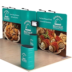Tarpon A 20ft Waveline Media Single-Sided Tension Fabric trade show display, attention grabbing convention booth, is an all inclusive display that is affordable, easy to set up and looks amazing. Works like a large pillow case