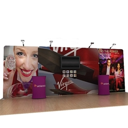 20' Atlantic A Waveline Media Single-Sided Backwall with TV Mount and Counter Option Molded Case with Black Skirt, attention grabbing convention booth, is an all inclusive display that is affordable, easy to set up and looks amazing. Works like a large pi