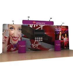 20' Atlantic B Waveline Media Single-Sided Backwall with TV Mount and Counter Option Molded Case with Black Skirt, attention grabbing convention booth, is an all inclusive display that is affordable, easy to set up and looks amazing. Works like a large pi