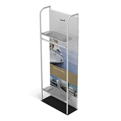 3ft x 8ft Merchandiser Display Black Plate Kit 5 with 2 shelf and Garment Bar represent the latest developments in the evolution of event and trade show display technology. Merchandiser 8 FT Display is a way to feature merchandise at your tradeshow