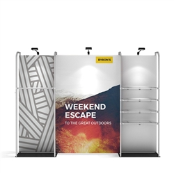 11ft WaveLine Merchandiser - Kit 01 - Single-Sided Graphic and Hardware, White Base.  Choose this easy, impactful and affordable display to stand out from your competition at your next trade show.