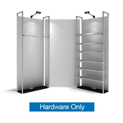11ft WaveLine Merchandiser - Kit 01 - Hardware Only - White Base.  Choose this easy, impactful and affordable display to stand out from your competition at your next trade show.