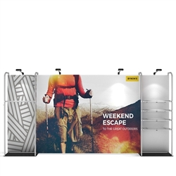 16ft x 8ft Waveline Merchandiser Kit 03 | Single-Sided Tension Fabric Display