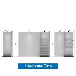 20ft WaveLine Merchandiser - Kit 04  - Hardware Only - White Base.  Choose this easy, impactful and affordable display to stand out from your competition at your next trade show.