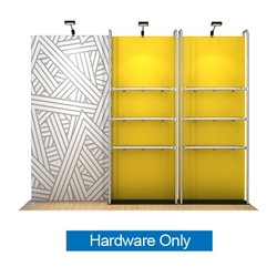 10ft WaveLine Merchandiser - Kit 16  - Hardware Only - White Base.  Choose this easy, impactful and affordable display to stand out from your competition at your next trade show.