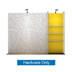 10ft WaveLine Merchandiser - Kit 17 - Hardware Only - White Base.  Choose this easy, impactful and affordable display to stand out from your competition at your next trade show.