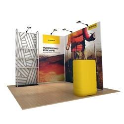 10ft x 8ft x 8ft Waveline Merchandiser Kit 20 | Single-Sided Tension Fabric Display