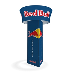 "10'x42"" Makitso Blimp Triangular Tower with Blimp Tube Tapered. ​Built-on a banner frame system made from a lightweight extruded aluminum frames wrapped in a vibrant dye-sublimation graphic print."