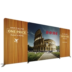 20ft Atlantic A Makitso Waveline Media Single-Sided Fabric Display is one of the most popular exhibits. It is affordable, easy to set up and looks amazing. Works like a large pillow case.
