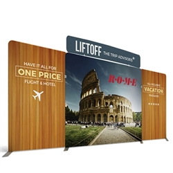 20ft Atlantic C Makitso Waveline Media Single-Sided Fabric Display with Curved Header is one of the most popular exhibits. It is affordable, easy to set up and looks amazing. Works like a large pillow case.