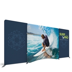 20ft Waveline Media Tension Fabric Display by Makitso - Caribbean-A - Single Sided.  Choose this easy, impactful and affordable display to stand out from your competition at your next trade show.