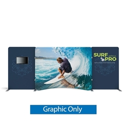 20ft Waveline Media Tension Fabric Display by Makitso - Caribbean-A - Single Sided Graphic Only.  Choose this easy, impactful and affordable display to stand out from your competition at your next trade show.