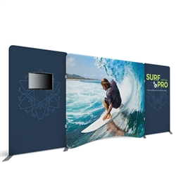 20ft Waveline Media Tension Fabric Display by Makitso - Caribbean-A - Single Sided with TV Mount.  Choose this easy, impactful and affordable display to stand out from your competition at your next trade show.