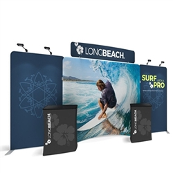 20ft Waveline Media Tension Fabric Display by Makitso - Caribbean-C - Single Sided.  Choose this easy, impactful and affordable display to stand out from your competition at your next trade show.