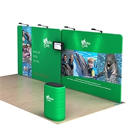 20ft Waveline Media Tension Fabric Display by Makitso - Dolphin A - Single Sided with TV Mount.  Choose this easy, impactful and affordable display to stand out from your competition at your next trade show.