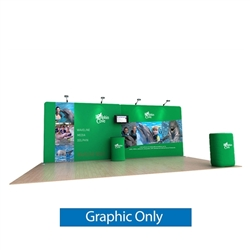 20ft Waveline Media Tension Fabric Display by Makitso - Dolphin A - Single Sided Graphic Only.  Choose this easy, impactful and affordable display to stand out from your competition at your next trade show.