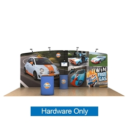 20ft Waveline Media Tension Fabric Display by Makitso - Gulf - Hardware Only.  Choose this easy, impactful and affordable display to stand out from your competition at your next trade show.