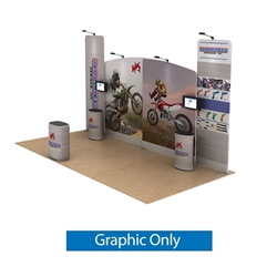 20ft Waveline Media Tension Fabric Display by Makitso -  Hammerhead - Double Sided Graphic Only.  Choose this easy, impactful and affordable display to stand out from your competition at your next trade show.
