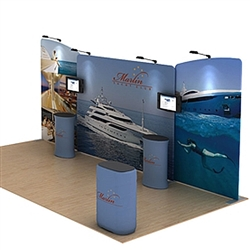 20ft Waveline Media Tension Fabric Display by Makitso -  Marlin A - Single Sided with TV Mount.  Choose this easy, impactful and affordable display to stand out from your competition at your next trade show.