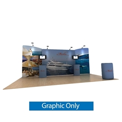 20ft Waveline Media Tension Fabric Display by Makitso -  Marlin A - Single Sided Graphic Only.  Choose this easy, impactful and affordable display to stand out from your competition at your next trade show.