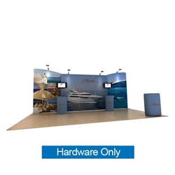 20ft Waveline Media Tension Fabric Display by Makitso -  Marlin A - Hardware Only.  Choose this easy, impactful and affordable display to stand out from your competition at your next trade show.