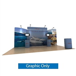 20ft Waveline Media Tension Fabric Display by Makitso -   Marlin B - Double Sided Graphic Only.  Choose this easy, impactful and affordable display to stand out from your competition at your next trade show.