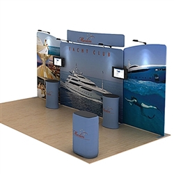 20ft Waveline Media Tension Fabric Display by Makitso -  Marlin C - Single Sided.  Choose this easy, impactful and affordable display to stand out from your competition at your next trade show.
