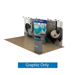 20ft Waveline Media Tension Fabric Display by Makitso - Orca A - Double Sided Graphic Only.  Choose this easy, impactful and affordable display to stand out from your competition at your next trade show.