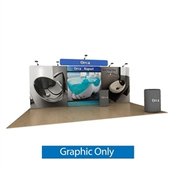 20ft Waveline Media Tension Fabric Display by Makitso - Orca B - Single Sided Graphic Only.  Choose this easy, impactful and affordable display to stand out from your competition at your next trade show.