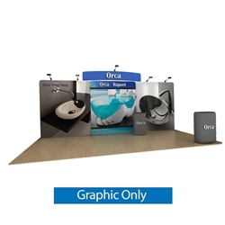 20ft Waveline Media Tension Fabric Display by Makitso - Orca C - Double Sided Graphic Only.  Choose this easy, impactful and affordable display to stand out from your competition at your next trade show.