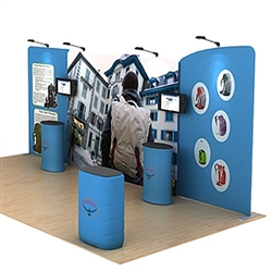 20ft Waveline Media Tension Fabric Display by Makitso - Osprey A - Single Sided.  Choose this easy, impactful and affordable display to stand out from your competition at your next trade show.