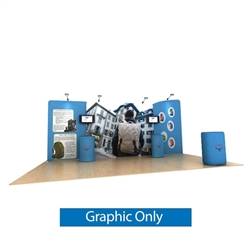 20ft Waveline Media Tension Fabric Display by Makitso - Osprey A - Single Sided Graphic Only.  Choose this easy, impactful and affordable display to stand out from your competition at your next trade show.
