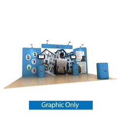 20ft Waveline Media Tension Fabric Display by Makitso - Osprey B - Double Sided Graphic Only.  Choose this easy, impactful and affordable display to stand out from your competition at your next trade show.