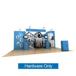 20ft Waveline Media Tension Fabric Display by Makitso - Osprey B - Hardware Only.  Choose this easy, impactful and affordable display to stand out from your competition at your next trade show.