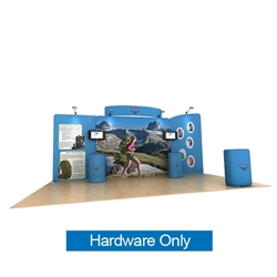 20ft Waveline Media Tension Fabric Display by Makitso - Osprey C - Hardware Only.  Choose this easy, impactful and affordable display to stand out from your competition at your next trade show.