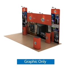 20ft Waveline Media Tension Fabric Display by Makitso - Reef A - Double Sided Graphic Only.  Choose this easy, impactful and affordable display to stand out from your competition at your next trade show.