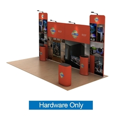20ft Waveline Media Tension Fabric Display by Makitso - Reef A - Hardware Only.  Choose this easy, impactful and affordable display to stand out from your competition at your next trade show.