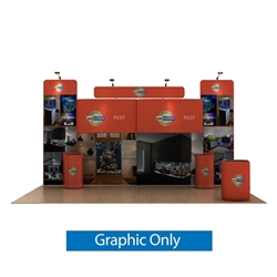 20ft Waveline Media Tension Fabric Display by Makitso - Reef B - Double Sided Graphic Only.  Choose this easy, impactful and affordable display to stand out from your competition at your next trade show.