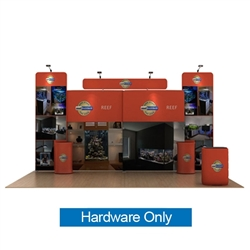 20ft Waveline Media Tension Fabric Display by Makitso - Reef B - Hardware Only.  Choose this easy, impactful and affordable display to stand out from your competition at your next trade show.
