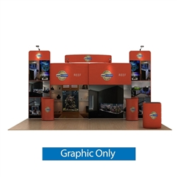 20ft Waveline Media Tension Fabric Display by Makitso -  Reef C - Double Sided Graphic Only.  Choose this easy, impactful and affordable display to stand out from your competition at your next trade show.
