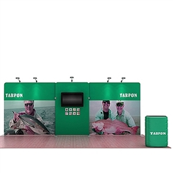 20ft Waveline Media Tension Fabric Display by Makitso -  Tarpon A    - Single Sided with TV Mount.  Choose this easy, impactful and affordable display to stand out from your competition at your next trade show.