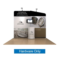 10ft Waveline Media Tension Fabric Display by Makitso -  Oyster B - Hardware Only.  Choose this easy, impactful and affordable display to stand out from your competition at your next trade show.