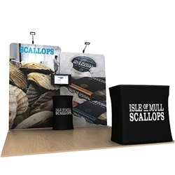 10ft Waveline Media Tension Fabric Display by Makitso - Scallop A  - Single Sided.  Choose this easy, impactful and affordable display to stand out from your competition at your next trade show.
