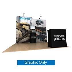 10ft Waveline Media Tension Fabric Display by Makitso - Scallop A  - Single Sided Graphic Only.  Choose this easy, impactful and affordable display to stand out from your competition at your next trade show.