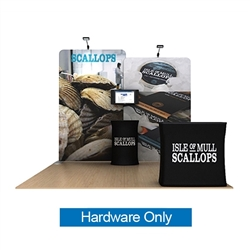 10ft Waveline Media Tension Fabric Display by Makitso - Scallop A  - Hardware Only.  Choose this easy, impactful and affordable display to stand out from your competition at your next trade show.
