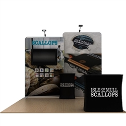 10ft Waveline Media Tension Fabric Display by Makitso - Scallop A  - Single Sided with TV Mount.  Choose this easy, impactful and affordable display to stand out from your competition at your next trade show.