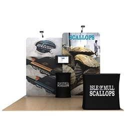10ft Waveline Media Tension Fabric Display by Makitso -  Scallop B   - Single Sided.  Choose this easy, impactful and affordable display to stand out from your competition at your next trade show.