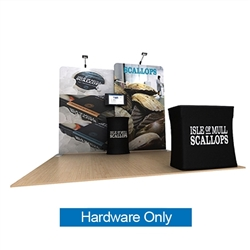 10ft Waveline Media Tension Fabric Display by Makitso -  Scallop B   - Hardware Only.  Choose this easy, impactful and affordable display to stand out from your competition at your next trade show.